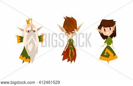 Cute Forest Elves Set, Fairytale Magic Characters In Green Clothes Cartoon Vector Illustration