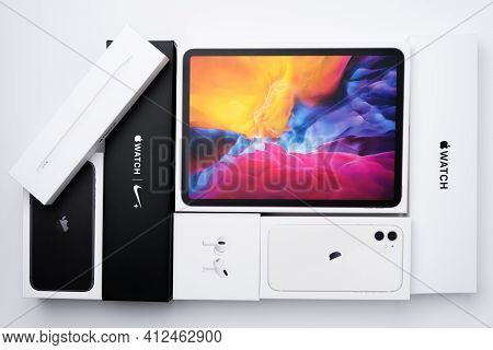 Apple Watch, Iphone 11, Airpods Pro, Ipad Pro Boxes On The White Background. March 2021, San Francis