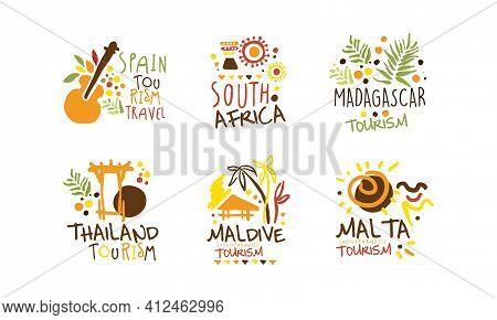 Touristic Logo Templates Design, Travel Over The World, Spain, Madagascar, South Africa, Maldive, Ma