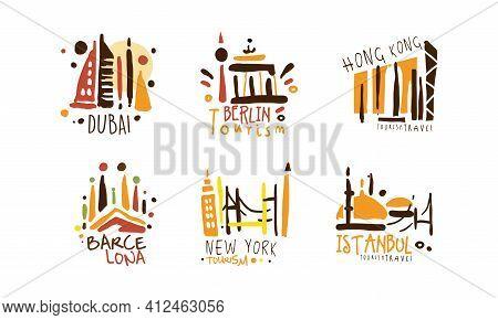 Touristic Logo Templates Design, Travel Over The World, Dubai, Berlin, Hong Kong, Barcelona, New Yor