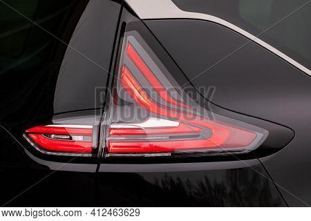Backlight Of A New Black Car, Led Technology