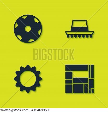 Set Football Ball, House Edificio Mirador, Sun And Spanish Hat Icon. Vector