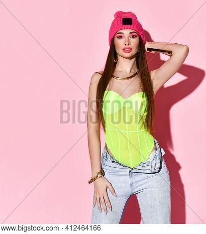 Fashion Glamor Teenager Girl Model Beauty Studio Portrait Isolated On Pink Background. Charming Youn