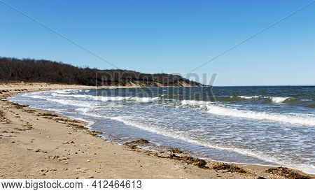 Sunken Meadow State Park Beach On A March Afternoon Looking West Toward The Bluffs.