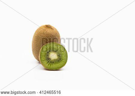 Kiwi Fruits Isolated On White Background, Whole Kiwi Fruit And Half Kiwi Fruit Isolated