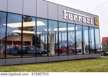 Prague, Czech Republic - December 23 2018: Ferrari N. V. Italian Luxury Sports Car Manufacturer Comp