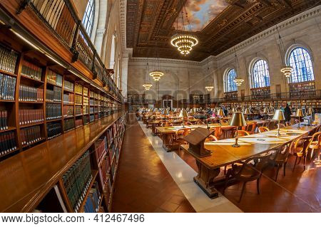 New York, Usa-march 7,2020:view Of The Interior Of Public Library.with 53 Million Items And 92 Locat