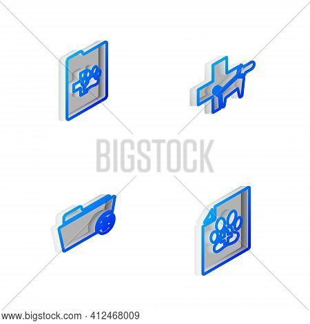 Set Isometric Line Veterinary Clinic, Clinical Record Pet, Medical Veterinary Folder And Certificate