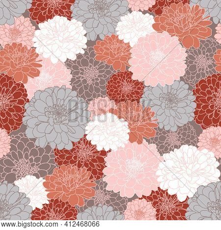 Vector Seamless Repeating Pattern With Hand Drawn Chrysanthemum Flowers In Grey, Maroon, Peach Pink,