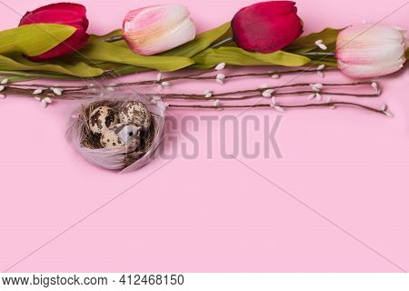 Trendy Minimal Concept Of Spring And Easter Made Of A Bird Nest And A Tulips.