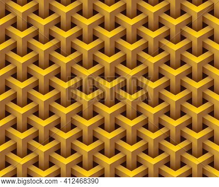 3d Hexagonal Geometry Model Texture, Overlapped Geometric Shape Seamless Pattern Background. Isometr