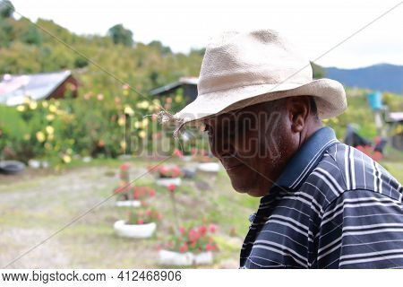 Friendly Face Of A Colombian Peasant That Shows Years Of Work And The Nobility Of The People Of The