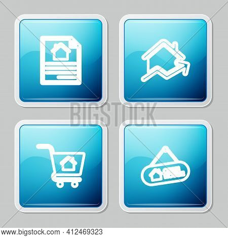 Set Line House Contract, Rising Cost Of Housing, Shopping Cart With House And Hanging Sign Open Icon