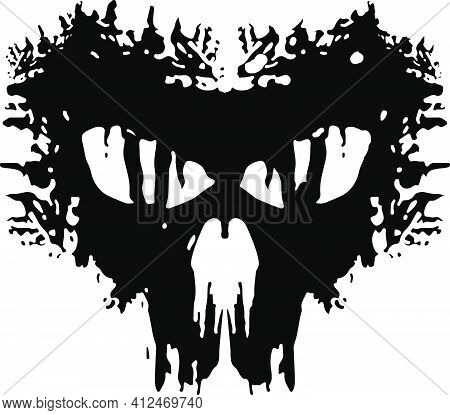 Anarchy Military Patch. Skull Abstract Flat Logo. Videogame Like Icon. Vector Illustration.
