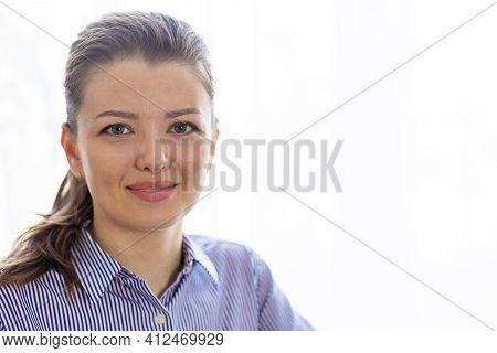Closeup Portrait Calm Smiling Girl, Positive Young Caucasian Woman With Blue Eyes, Light Brown, Fair