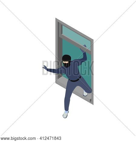 Gang Crime Robbery Stealing Isometric Composition With Robber Character Coming Through Wall Window V