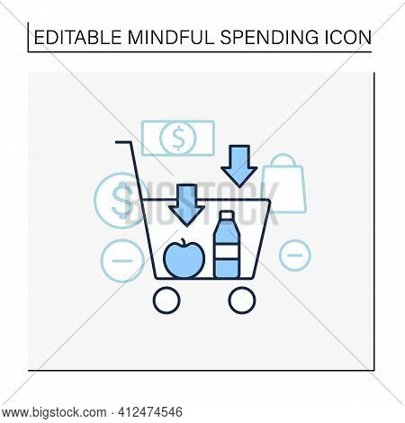 Buy Less Line Icon.basket With Necessary Products. Milk, Fruit. Thoughtful Spending Money. Purchase