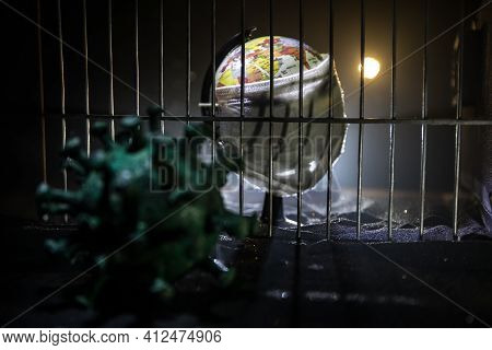 Prison Or Jail Cell Wall With Window With Bars, Exterior Perspective, Covid-19 Corona Virus Disease
