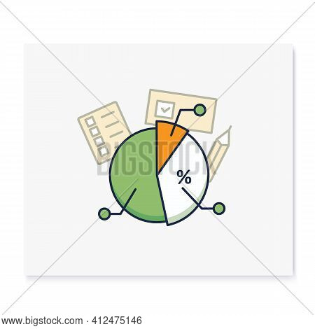 Voting Poll Color Icon. Candidates Rating Pie Chart.electoral Infographics.vote Percentage.vote Conc