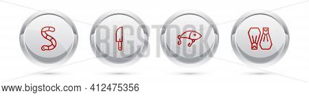 Set Line Worm, Knife, Fishing Lure And Rubber Flippers For Swimming. Silver Circle Button. Vector