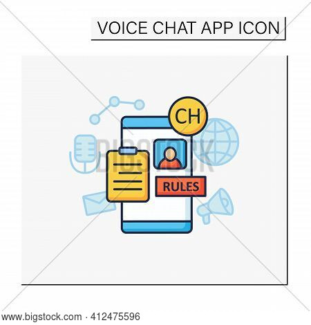 Application Rules Color Icon. Rules For Users. Main Application Regulation. Communication Concept. I