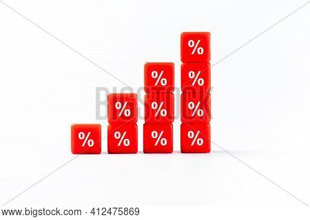 Red Percentage Cubes With Discount Concept.concept Of Sale And Discount.business And Finance Discoun