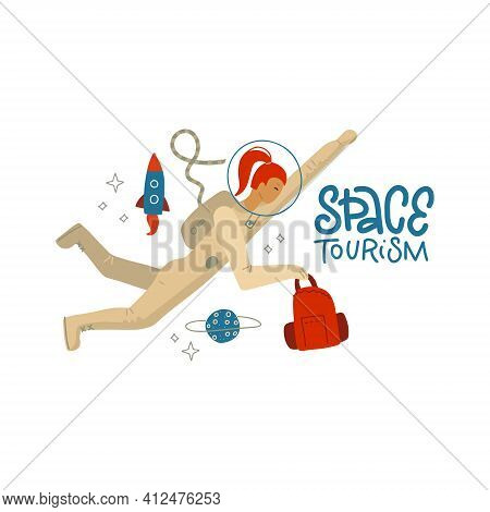 Space Tourism Concept - A Young Female Astronaut In A Spacesuit Traveling With Luggage In Outer Spac