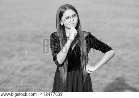 Serious Small Girl With Thoughtful Look Wear Long Brunette Hair Sunny Summer Outdoors, Haircare