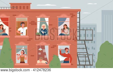 Stay Home, Daily Routine Activity, Open Windows With Friendly Man Woman Neighbors