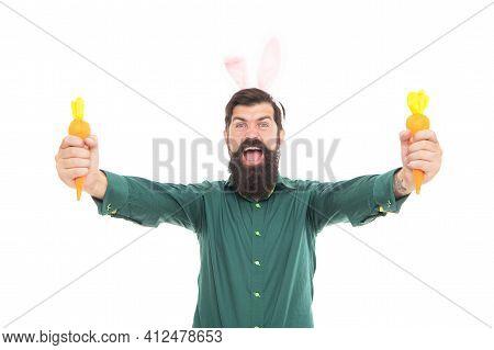 Happy Bearded Man Wear Bunny Ears. Happy About Easter. Easter Carrot. Hipster Wearing Rabbit Ears.
