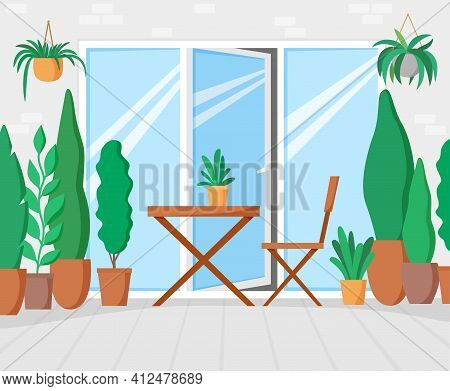 Garden On Terrace With Table And Chair, Green Balcony With Plants, Gallery With Big Window For Leisu