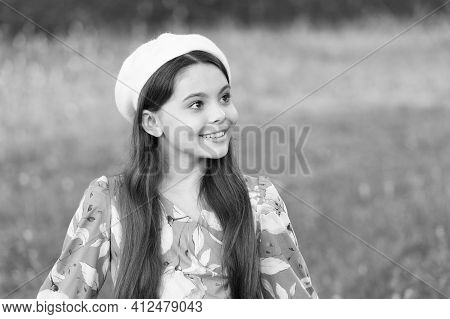 Sophisticated Fashionista Little Girl Wear Beret Hat And Fancy Dress Nature Background, Summer Outfi