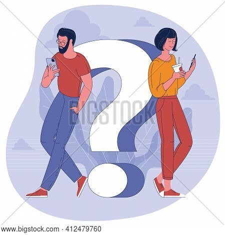 People With Smartphones And Question Mark. Flat Design Vector Concept For Faq And Helpline Banner Te