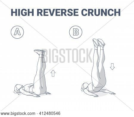 High Reverse Crunch Female Home Workout Exercise Illustration. Athletic Woman Working On Her Abs.