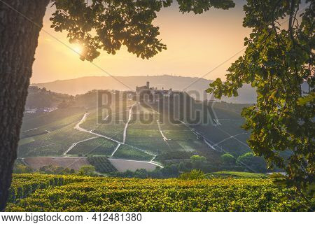 Langhe Vineyards, Castiglione Falletto Village And A Tree As A Frame At Sunset. Unesco Site, Piedmon