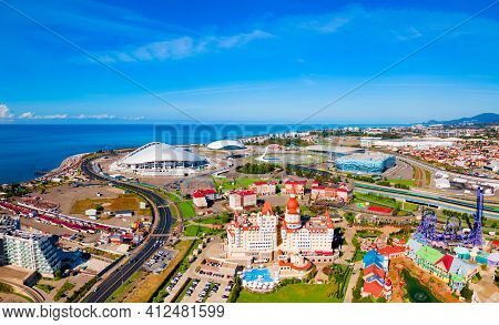 Sochi, Russia - October 04, 2020: Bogatyr Castle - Hotel And Congress Center Complex Aerial Panorami