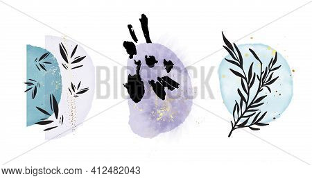 Boho Rustc One Line Plant, Oriental Minimalist Art, Watercolor Painting Texture Shapes Blue Violet A