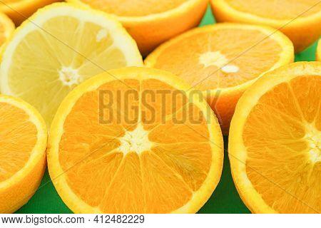 Juicy Sliced Oranges And Lemons Fruit Background, Seasonal Citrus Fruits, Healthy Eating