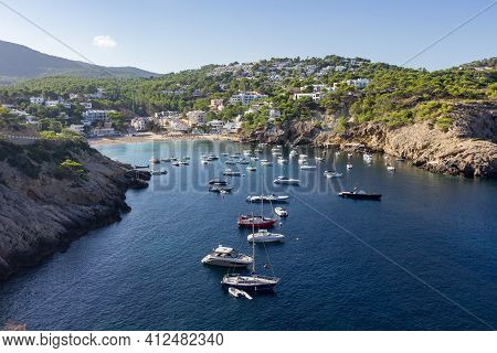 View Of Vadella Beach In Ibiza (spain)