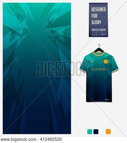Soccer Jersey Pattern Design. Thunder Pattern On Green Background For Soccer Kit, Football Kit, Bicy