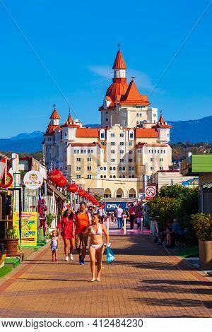 Sochi, Russia - October 04, 2020: Bogatyr Castle - Hotel And Congress Center Complex In Sochi Theme