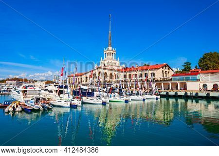 Sochi, Russia - October 04, 2020: Sochi Port Or Marine Passenger Terminal And Boats In Marina. Sochi
