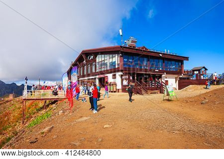 Sochi, Russia - October 06, 2020: Cable Car Station Building At The Rose Peak, An Alpine Ski Resort
