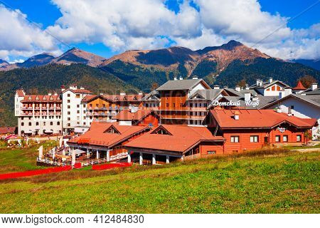 Sochi, Russia - October 06, 2020: Buildings In Rosa Plateau Mountain Village. Rose Plateau And Roza