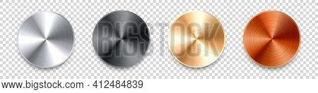 Realistic Metal Chrome Button. Silver Steel Volume Control Knob. Application Interface Design Elemen