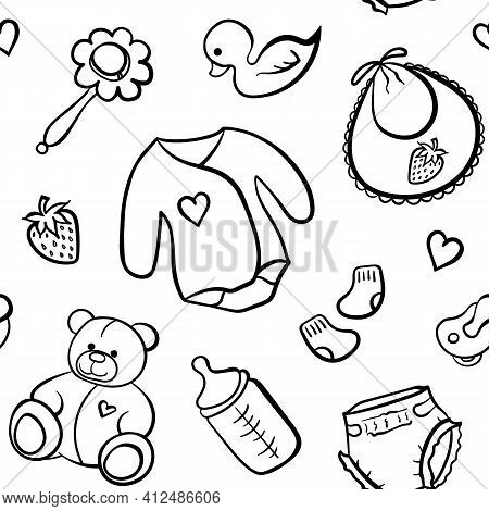 Cartoon Newborn Baby Clothes Toys Things Monochrome Black And White Line Art Vector Seamless Pattern