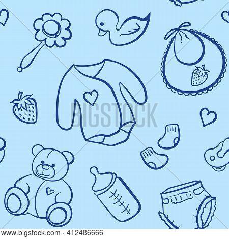 Cartoon Newborn Baby Boy Clothes Toys Things Monochrome Blue Line Art Vector Seamless Pattern Textur