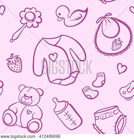 Cartoon Newborn Baby Girl Clothes Toys Things Monochrome Pink Line Art Vector Seamless Pattern Textu
