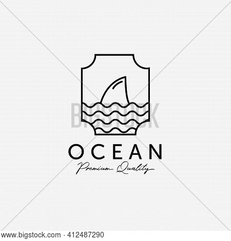 Emblem Of Ocean Shark Line Art Logo, Illustration Design Of Pacific Marine, Horizon Coastline Vector