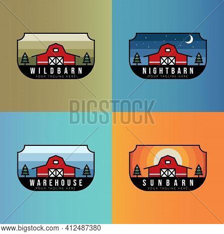 Set Of Barn Minimalist Vintage Logo Badge Illustration Design Template. Badge, Emblem, Symbol Barn L